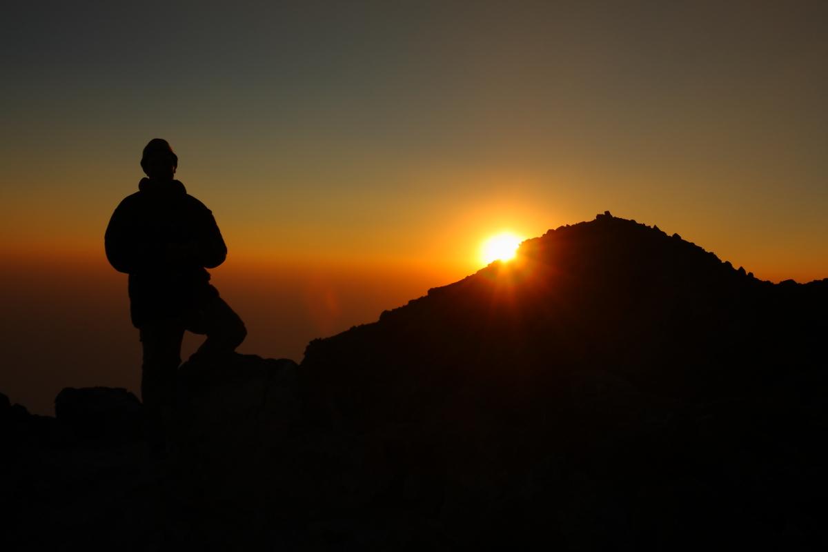 Sunset on Volcan Tajumulco's summit