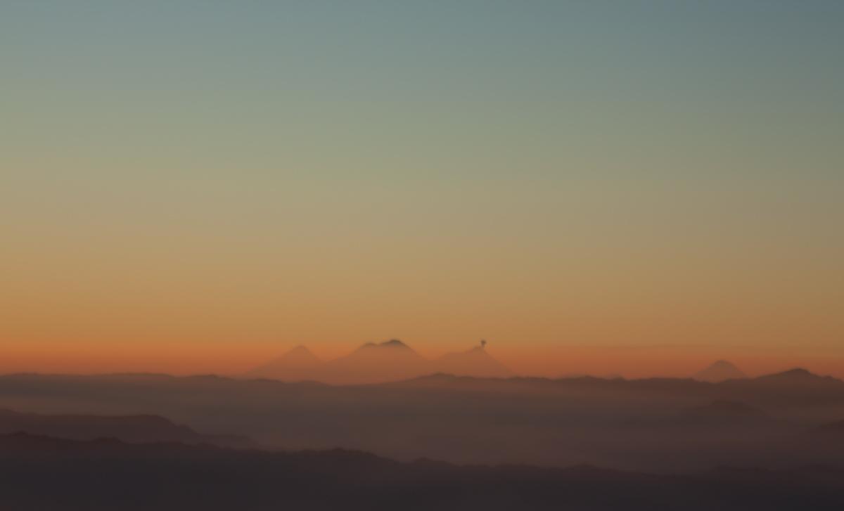 Volcan Acatenango and Fuego, viewed from Tajumulco's summit