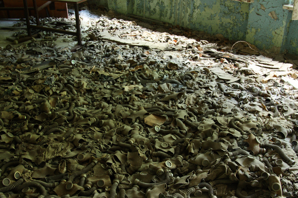 Gas masks on the floor in abandoned school, Pripyat tour