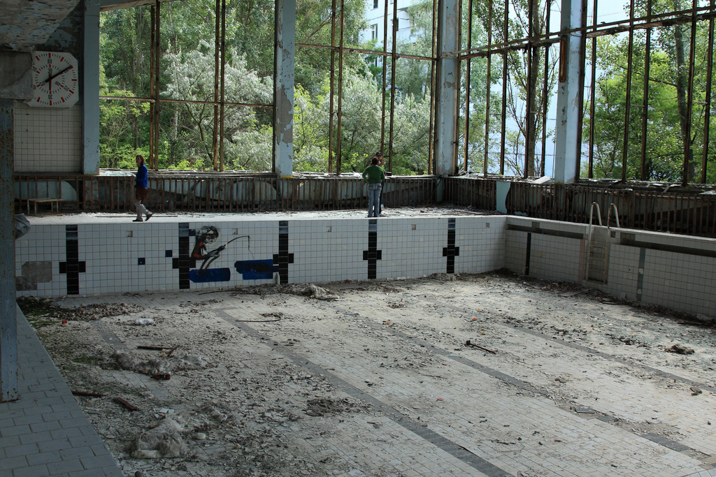 Dilapidated swimming pool in Pripyat