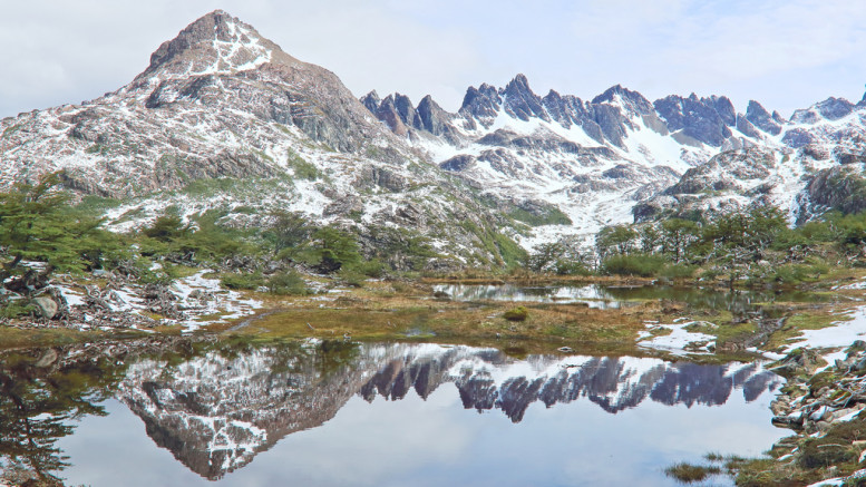 Reflection of the Dientes de Navarino in a lake