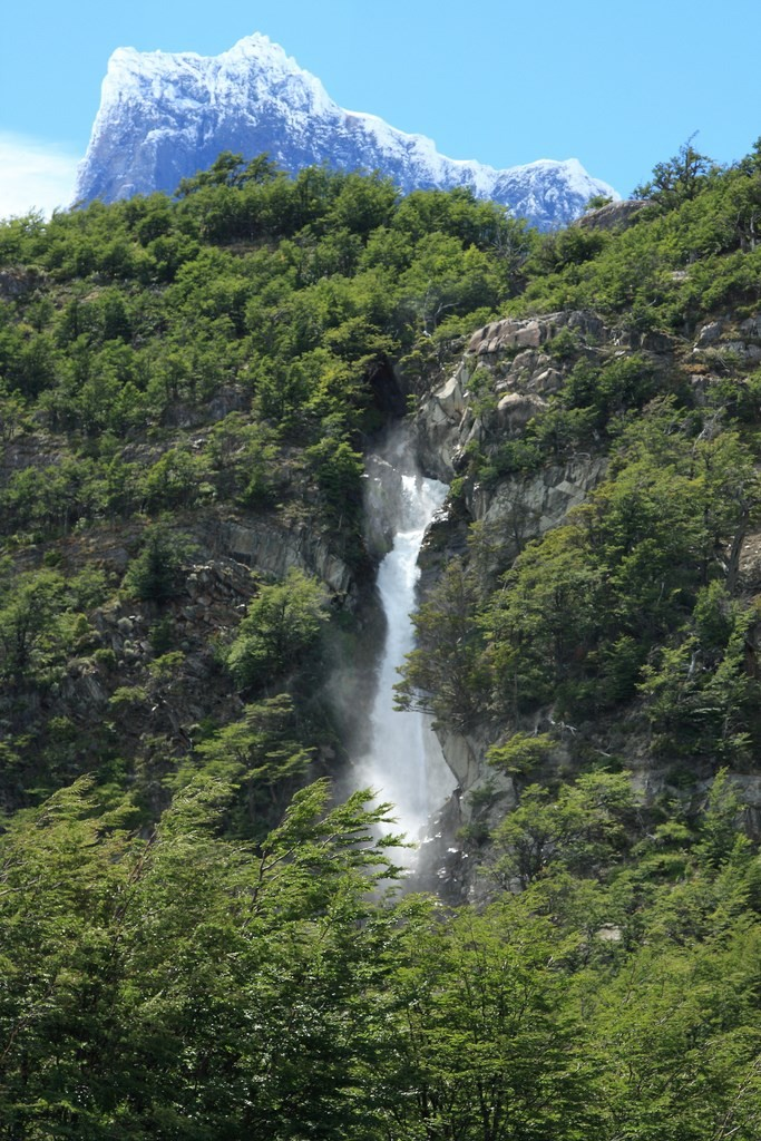Tall waterfall in Torres del Paine