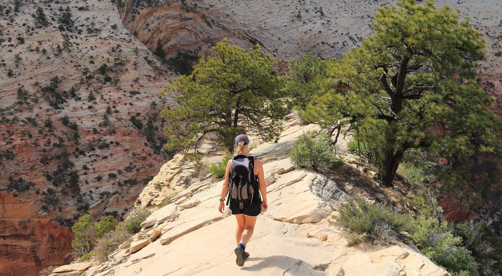 Hiker on summit ridge of Angels Landing