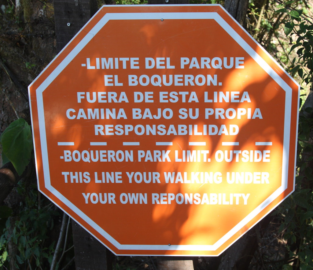Boqueron hike warning sign