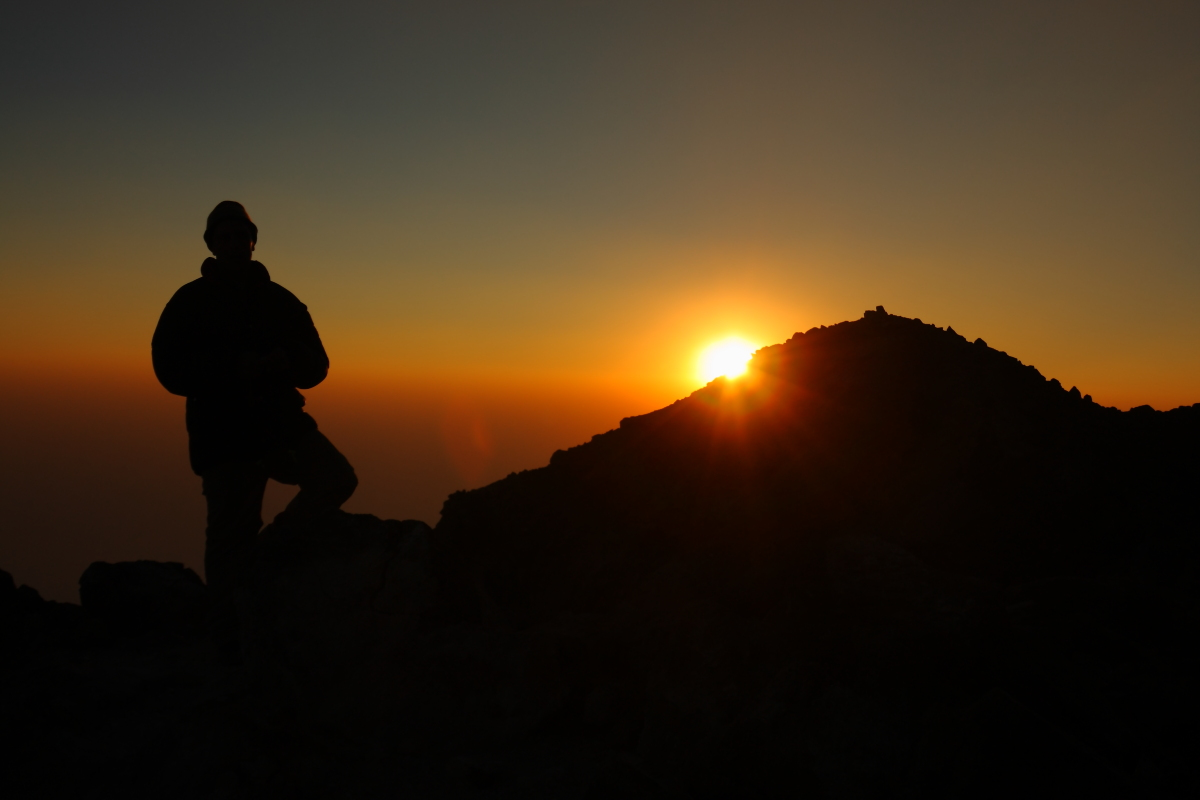Sunset on Volcan Tajumulco's summit