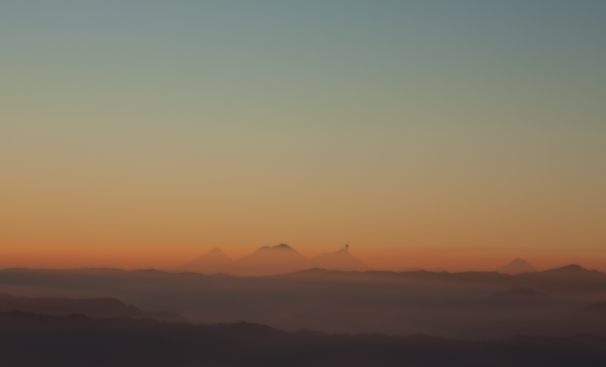 Volcan Acatenango and Fuego, viewed from Tajumulco's summit