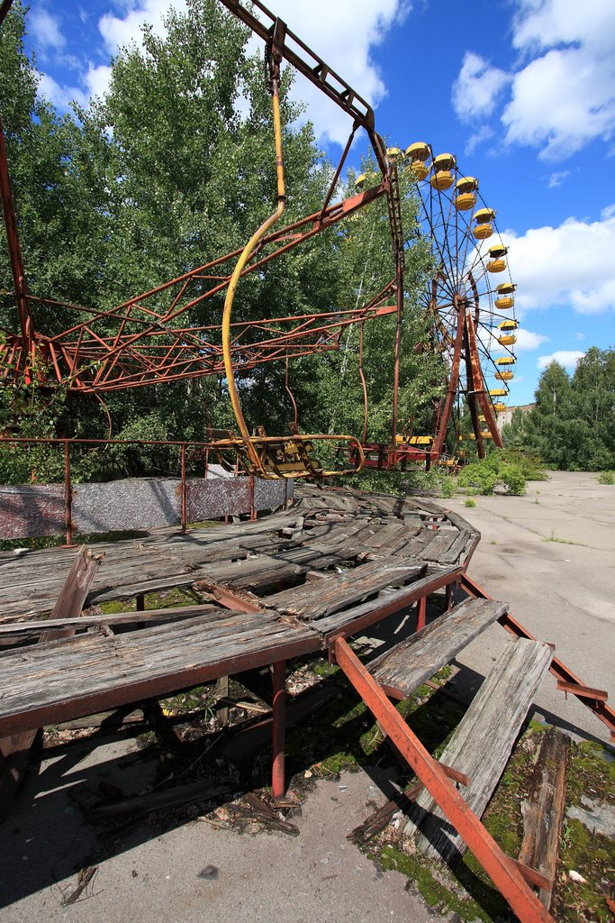 Abandoned fairground ride