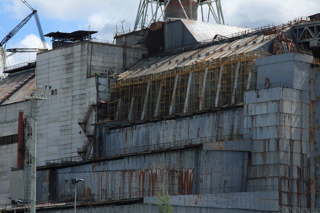 Chernobyl sarcophagus closeup