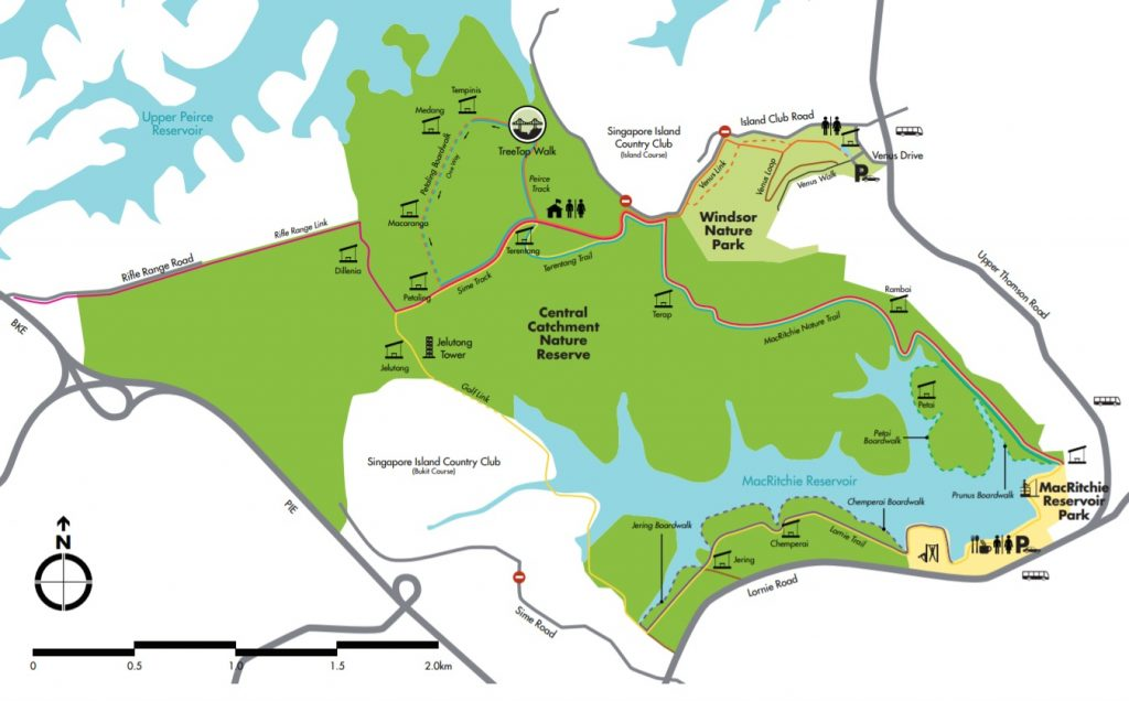 MacRitchie Reservoir Park hiking map