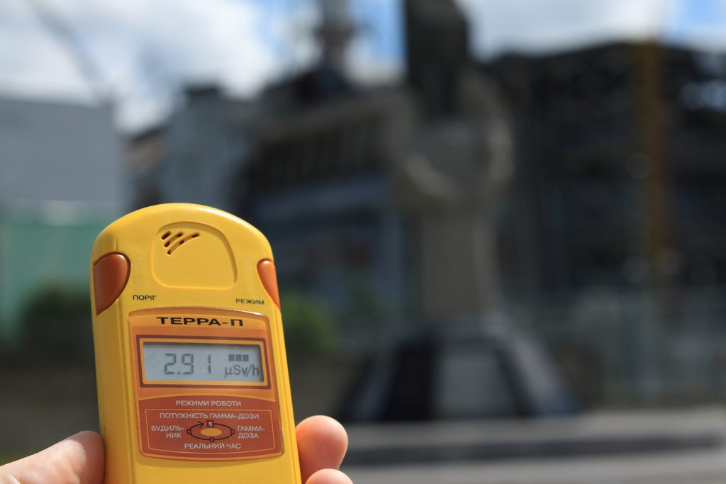 Dosimeter showing Chernobyl radiation levels