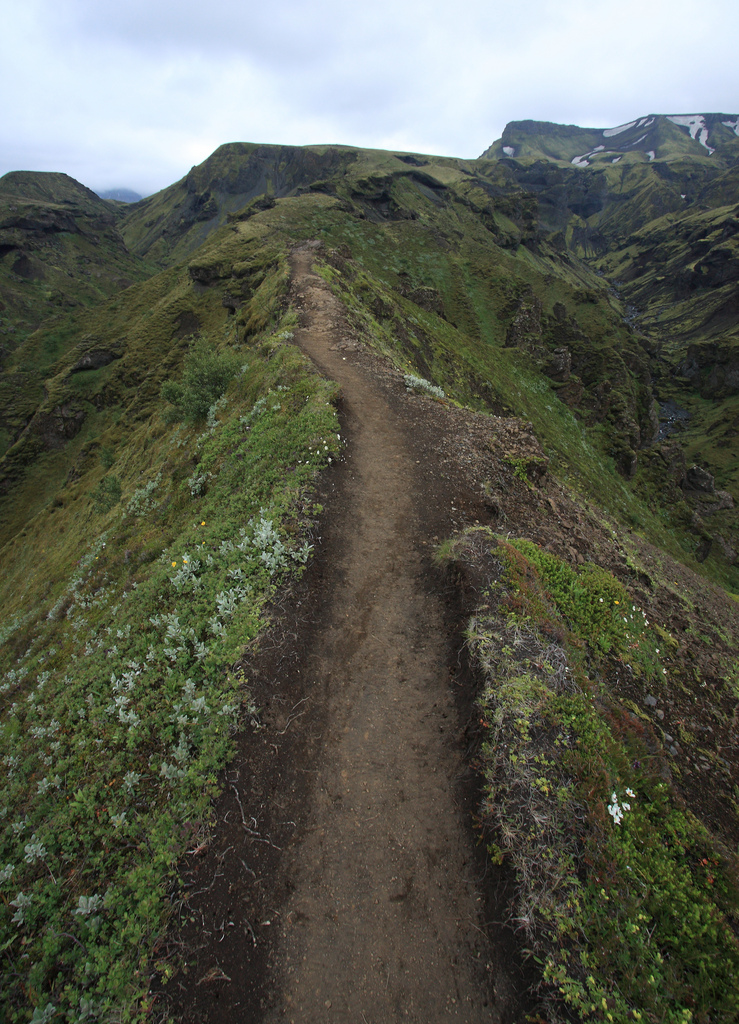 The Cats Back section of Fimmvörðuháls Pass trail